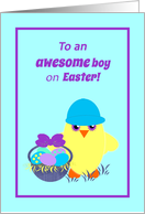 Kids Easter Baby Chick, Basket, Colored Eggs card