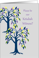 Invitation Ketubah Witness Colorful Trees card
