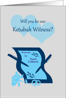 Invitation Ketubah Witness Custom Name Paper Pens and Hearts card