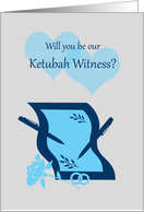 Invitation Ketubah Witness Paper Pens Hearts and Rings card