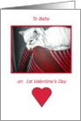 Baby's 1st/First Valentine's Day-Baby's First- Handpainted Cat Print in Red,Black & White card