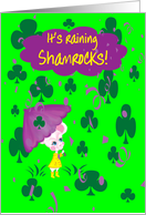 Granddaughter St Patrick's Day It's Raining Shamrocks Mouse w Umbrella card