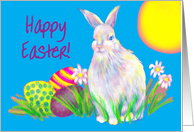 Easter Child Fluffy White Bunny Colourful Easter Eggs card