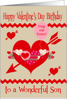 Birthday on Valentine's Day to Son, red, white, pink hearts, arrows card