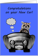 Congratulations On New Car Card with a Smiling Raccoon Driving a Car card