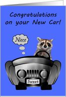 Congratulations On New Car to Niece with a Happy Smiling Raccoon card