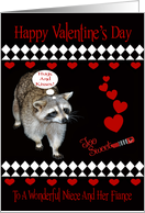 Valentine's Day To Niece And Fiance, Raccoon, red hearts on black card