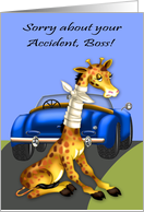 Get Well to boss, car aaccident, giraffe with neck bandaged, blue car card