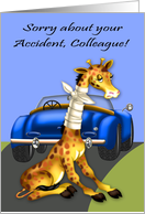 Get Well to colleague, car accident, giraffe with neck bandaged, blue card