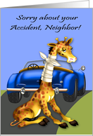 Get Well to neighbor, car accident, giraffe with neck bandaged, blue card