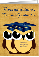 Congratulations Twin Graduates Custom Name with Owls Wearing Blue card