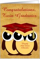 Congratulations, Twin Graduates, custom, Owls with red caps, vintage card