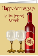 38th Wedding Anniversary to couple, Burgundy wine bottle with glasses card