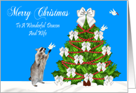 Christmas To Deacon And Wife, Raccoon with a dove, decorated tree card