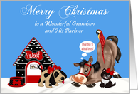 Christmas to Grandson and Partner with Cute Animals in a Snowy Scene card
