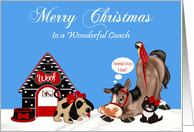 Christmas to Coach, dog with a dog house, horse, parrot and a cat card