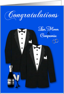 Congratulations, gay wedding, two tuxedos with champagne on blue card