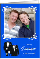 Announcement, We're Engaged Photo Card, gay, two tuxedos, champagne card