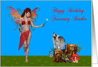 Birthday To Fraternity Brother, Sexy fairy with magic wand and raccoon card