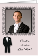 Invitations, Photo Card, Cousin Will You Be My Best Man, black tuxedo card