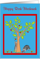 Rosh Hashanah, general, Raccoons next to apple tree, red frame card