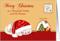 Christmas to Father and Partner, cat wearing Santa hat sleeping, mouse card