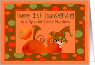 1st Thanksgiving to Great Nephew with a Boy Hiding Behind a Pumpkin card