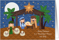 Christmas To Deacon And Wife, Nativity Scene with Baby Jesus, stars card