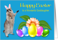 Easter to Goddaughter, Raccoon with bunny ears, flower, eggs, blue card