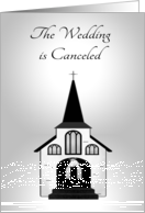 Announcement for Wedding Canceled, general, Church, silver, white card