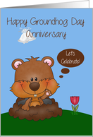 Anniversary On Groundhog Day, general, groundhog with a tulip, bells card