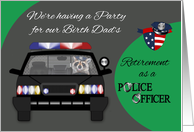 Invitations to Retirement Party for Birth Dad as a Police Officer, car card