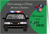 Invitations to Retirement party for cousin as Police Officer, Raccoon card