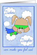 Encouragement for Daughter with Diabetes, child, Superhero bunny card