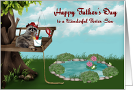 Father's Day to Foster Son, Raccoon fishing from tree, bucket of fish card