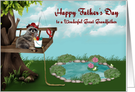 Father's Day to Great Grandfather, Raccoon fishing from a tree, frogs card