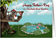 Father's Day to Great Grandson, Raccoon fishing from a tree, frogs card