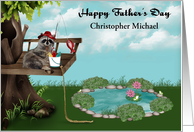 Father's Day, Custom Name, cute raccoon fishing from a tree, frogs card