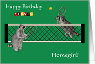 Birthday to Homegirl, Raccoons playing tennis with tennis rackets, net card