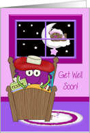 Get Well, general, sick monster in bed with a bear outside his window card