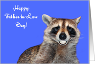 Father-in-Law Day, Raccoon smiling with pearly white dentures on blue card