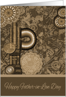 Father-in-Law Day, general, old vintage steampunk gears on brown, tan card