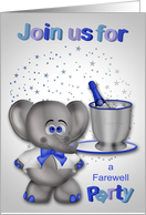 Invitation to a Farewell Party, An elephant with champagne and stars card