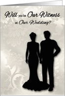 Invitations, Be Our Witness, wedding, man and woman silhouettes card