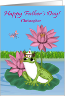 Father's Day Custom Name with a Frog Wearing a Crown on Lily Pad card