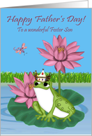 Father's Day To Foster Son, Frog wearing a crown sitting on a lily pad card
