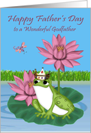 Father's Day To Godfather, Frog wearing a crown sitting on a lily pad card