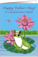 Father's Day To Great Nephew, Frog wearing a crown sitting on lily pad card