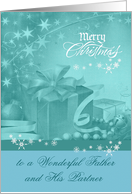 Christmas to Father and Partner, Presents, Bows, Ornaments on blue card