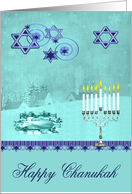 Chanukah, general, pretty winter scene with Star of Davids on blue card